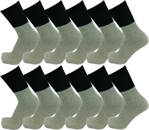 Men's Thermal Tube Socks - Black with Gray (12 Pack)