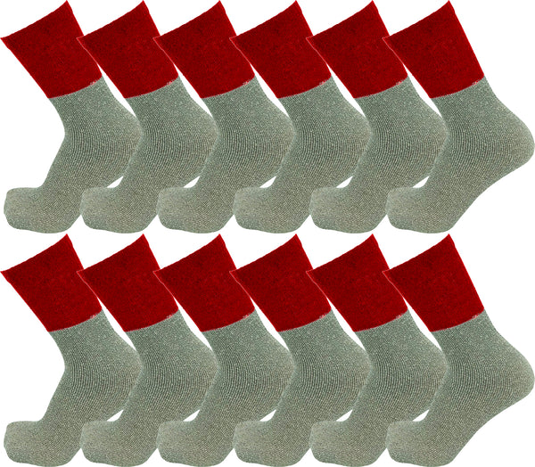 Men's Thermal Tube Socks - Red with Gray (12 Pack)