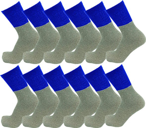 Men's Thermal Tube Socks - Blue with Gray (12 Pack)