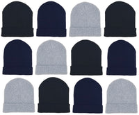 Adults Assorted Black Navy Gray Cuffed Winter Beanies (12 Pack)