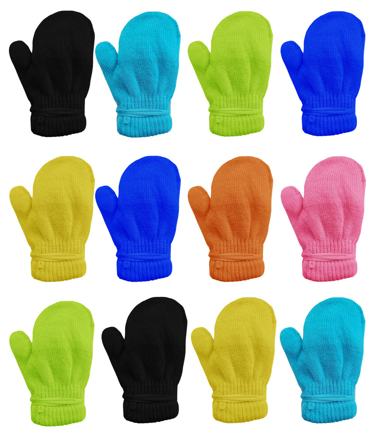 Children's Assorted Solid Mittens Gloves (12 Pack)