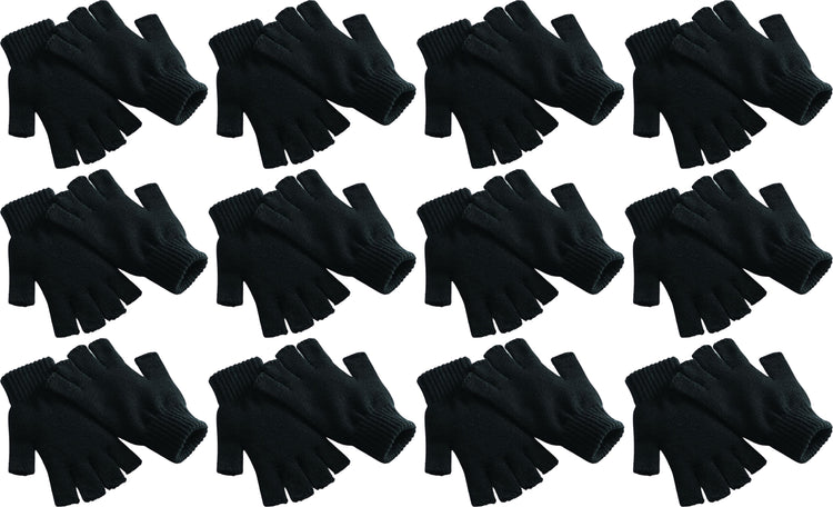 Adults Black Fingerless Winter Magic Gloves (12 Pack)