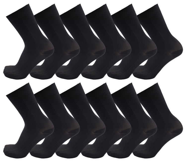 Men's Nylon Dress Socks - Black (12 Pack)