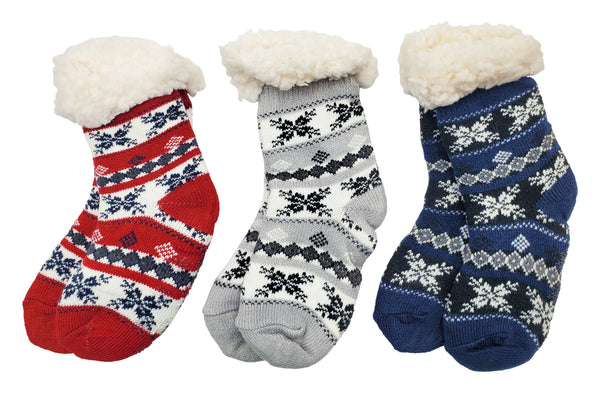 Children's Sherpa Lined Slipper Socks - Fair Isle (3 Pack)