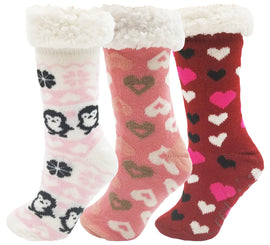 Women's Sherpa Lined Slipper Socks - Hearts (3 Pack)