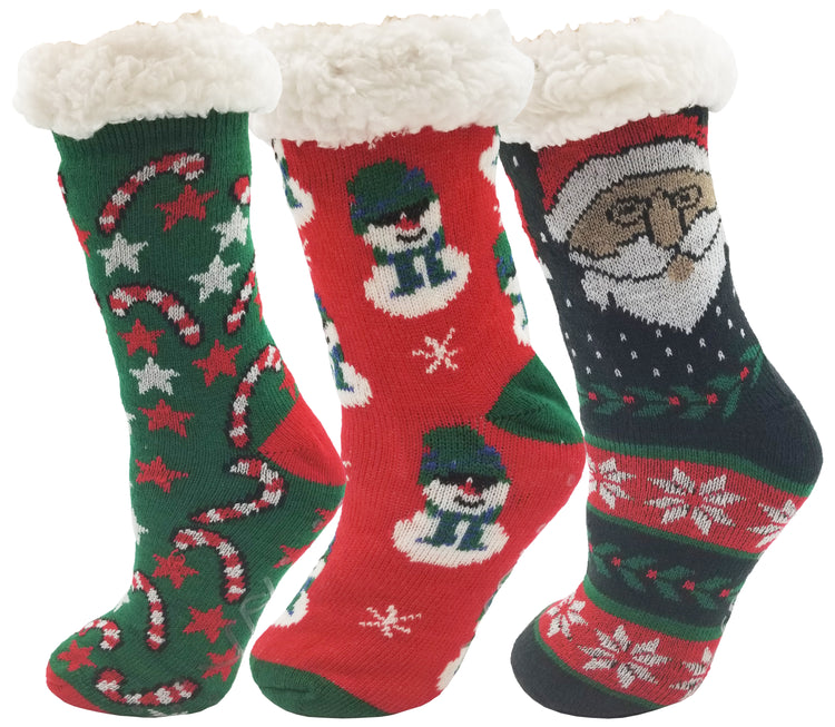 Women's Sherpa Lined Slipper Socks - Christmas Print (3 Pack)