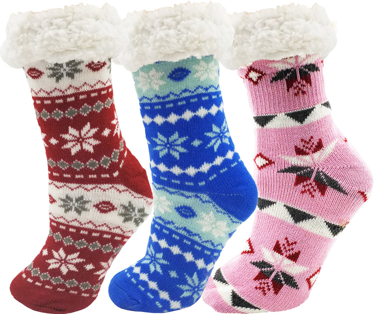 Women's Sherpa Lined Slipper Socks - Fair Isle Pattern (3 Pack)
