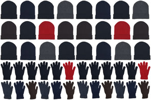 Assorted Beanies & Gloves - Combo Bundle (24 Beanies/24 Pairs Gloves)