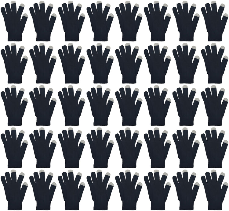 Adults Touch Screen Winter Gloves - Black (48 Bulk Pack)