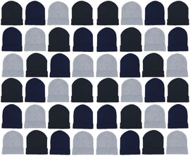 Adults Assorted Black Navy Gray Cuffed Winter Beanies (48 Bulk Pack)