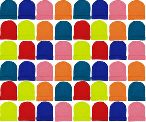 Children's Assorted Neon Cuffed Beanies (48 Bulk Pack)