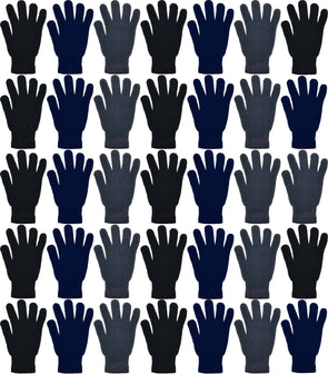 Adults Assorted Black, Navy, & Gray Winter Magic Gloves (48 Bulk Pack)