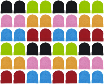 Adults Assorted Colorful Neon Cuffed Winter Beanies (48 Bulk Pack)