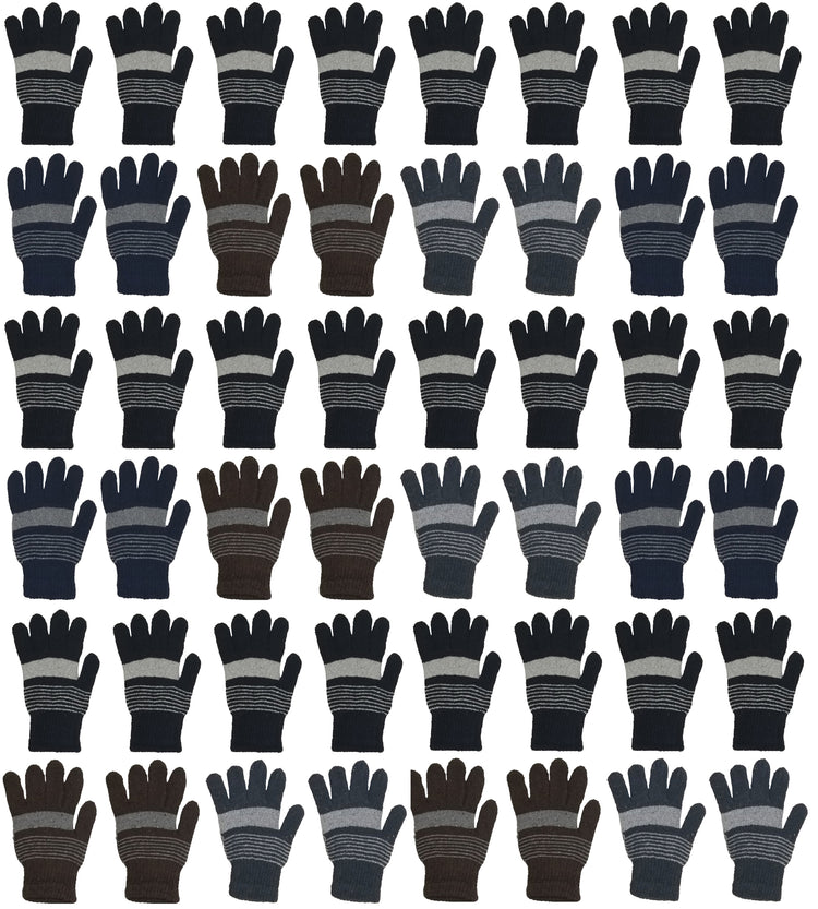 Adults Assorted Winter Magic Gloves (48 Bulk Pack)