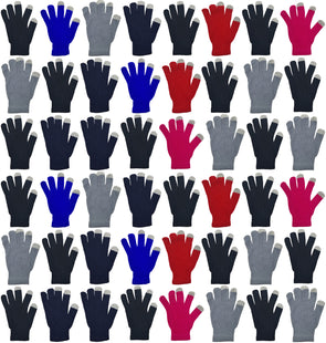 Adults Touch Screen Winter Gloves - Assorted Colors (48 Bulk Pack)