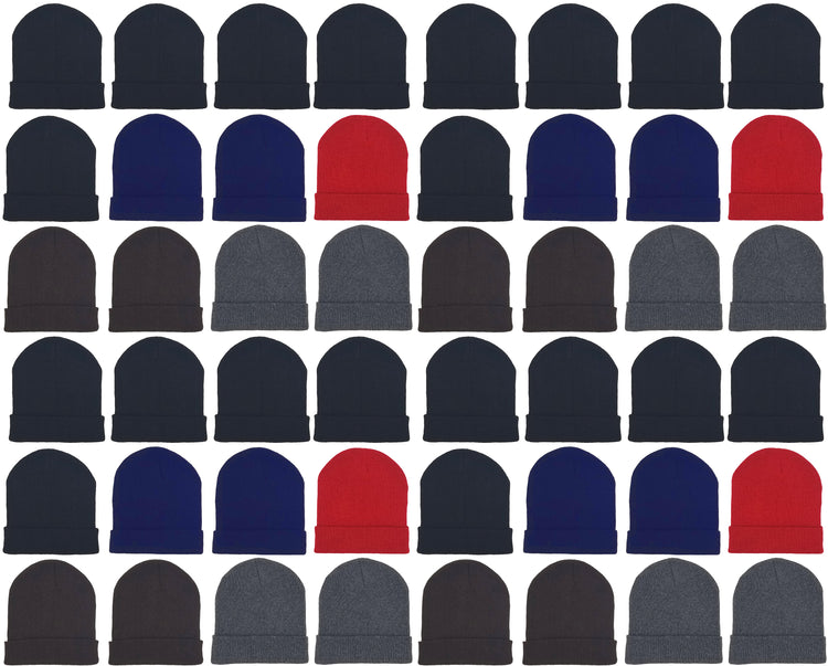 Adults Assorted Cuffed Winter Beanies (48 Bulk Pack)