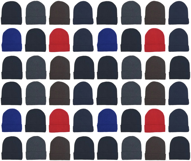 Adults Assorted Ribbed Winter Beanies (48 Bulk Pack)