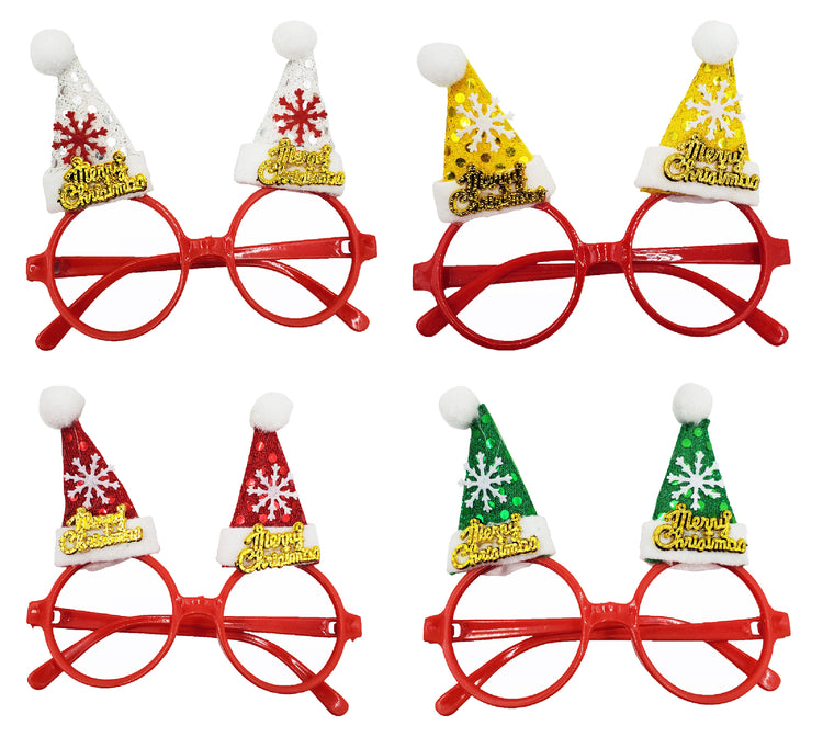 Christmas Eyeglasses - Merry Christmas Santa Hats (4 Pack)