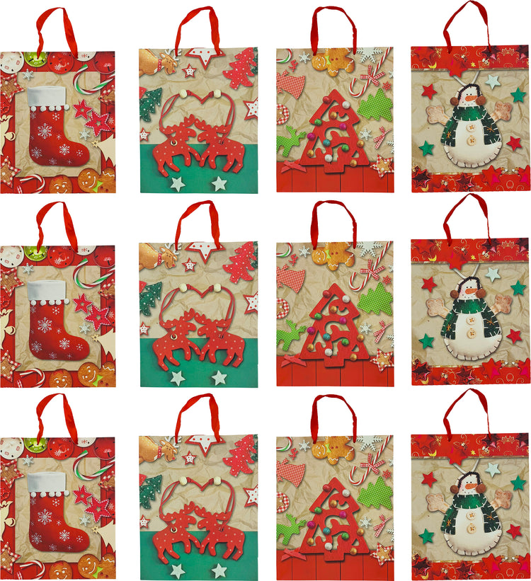 "Christmas Shopping Gift Bag - Handcraft Prints - 13x10x4"" (12 Pack)"
