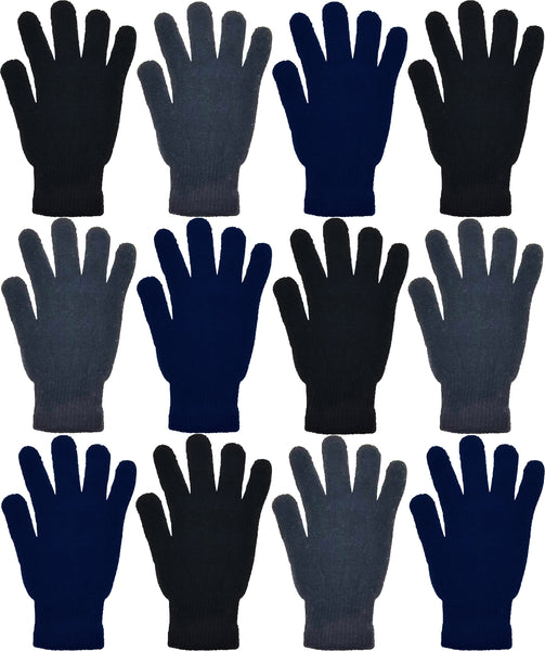 Adults Assorted Black Navy Gray Winter Magic Gloves (12 Pack)
