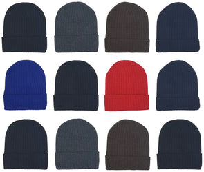 Adults Assorted Ribbed Winter Beanies (12 Pack)