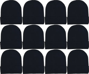 Adults Black Ribbed Winter Beanies (12 Pack)