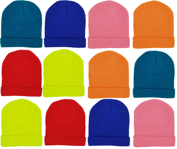 Children's Assorted Bright Colorful Cuffed Beanies (12 Pack)