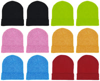 Adults Assorted Colorful Neon Cuffed Winter Beanies (12 Pack)