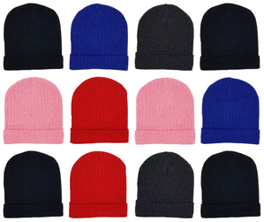 Children's Assorted Ribbed Beanies (12 Pack)