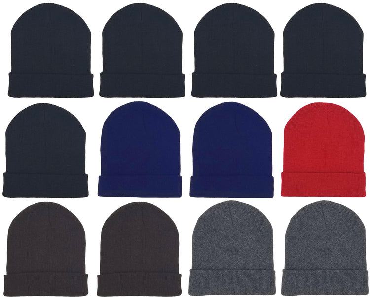 Adults Assorted Cuffed Winter Beanies (12 Pack)