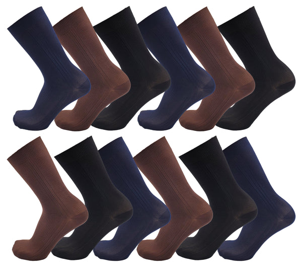 Men's Nylon Dress Socks - Assorted (12 Pack)