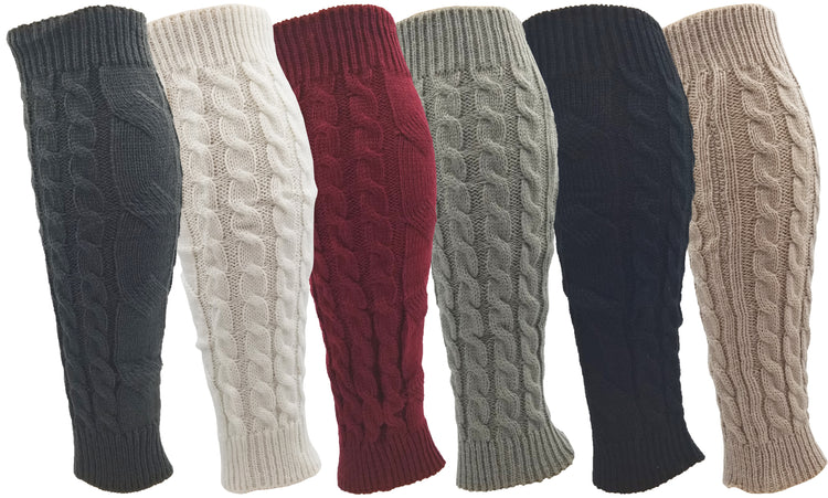 Women's Leg Warmers - Assorted Cable Knit (6 Pack)