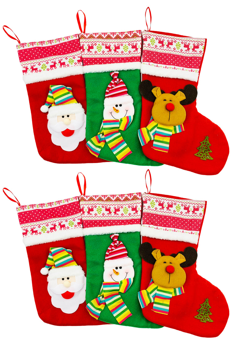 Christmas Stockings - Plush Cartoons (6 Pack)