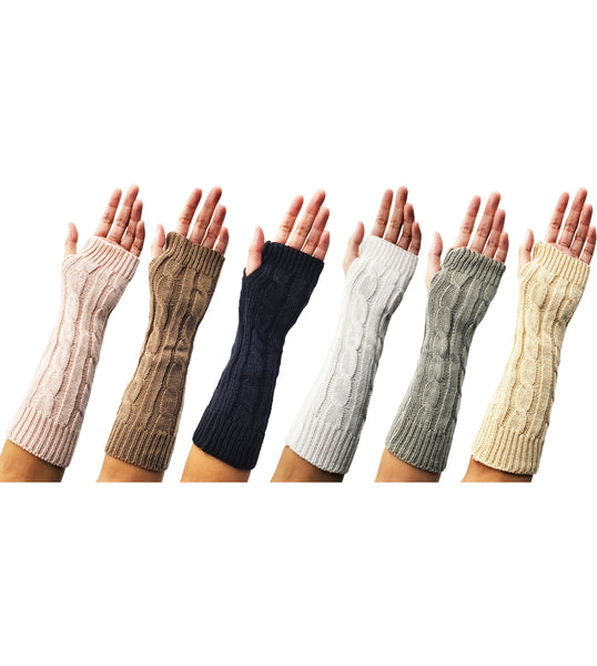 Women's Arm Warmers - Assorted Cable Knit (6 Pack)
