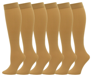Women's Sheer Trouser Socks - Beige (6 Pack)