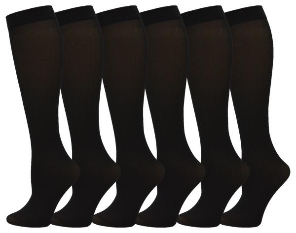 Queen Size Women's Sheer Trouser Socks - Black (6 Pack)