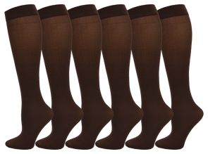 Women's Sheer Trouser Socks - Coffee (6 Pack)