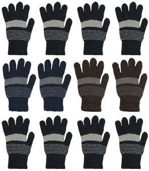 Adults Assorted Striped Winter Magic Gloves (12 Pack)
