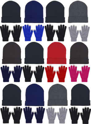 Assorted Beanies & Touch Screen Gloves - Combo Bundle (12 Beanies/12 Pairs Gloves)