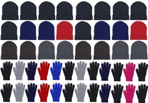 Assorted Beanies & Touch Screen Gloves - Combo Bundle (24 Beanies/24 Pairs Gloves)