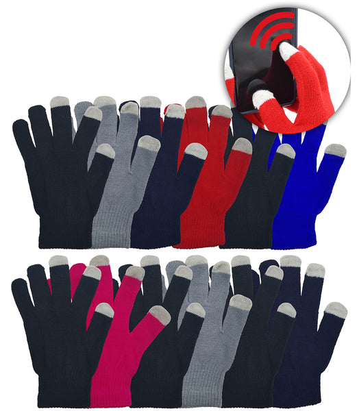 Adults Touch Screen Winter Gloves - Assorted Colors (12 Pack)