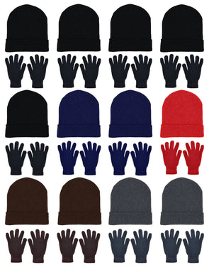 Assorted Beanies & Gloves - Combo Bundle (12 Beanies/12 Pairs Gloves)