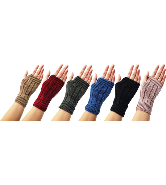 Women's Cable Knit Fingerless Gloves - Assorted (6 Pack)