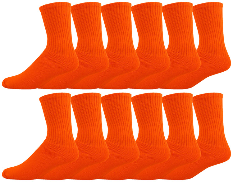 Men's Cotton Crew Socks - Orange (12 Pack)