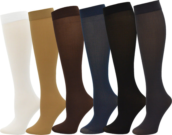 Women's Sheer Trouser Socks - Assorted Colors (6 Pack)