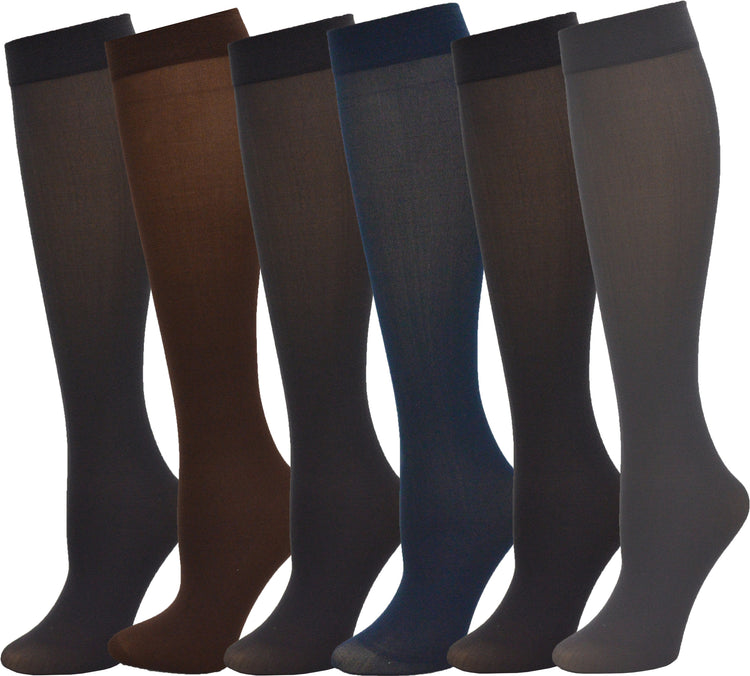 Queen Size Women's Sheer Trouser Socks - Assorted (6 Pack)