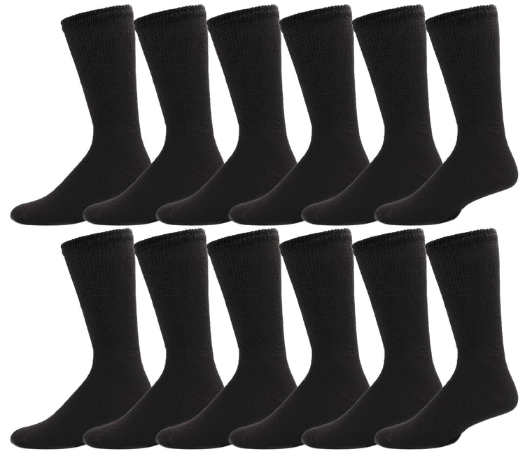 Women's Diabetic Crew Socks - Black (12 Pack)