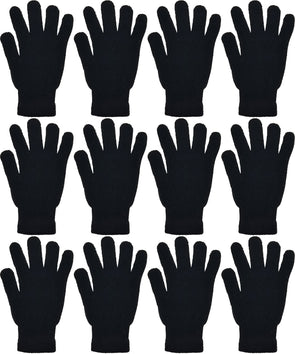 Adults Black Winter Magic Gloves (12 Pack)