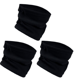 Fleece Lined Neck Warmers / Face Cover - Black (3 Pack)