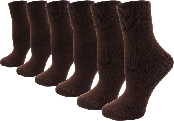 Women's Bamboo Dress Socks - Coffee (6 Pack)